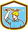 Elektriker Halten Lightning Bolt Seitenschutz