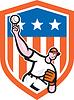 Baseball Pitcher werfen Ball-Schild Cartoon