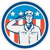 American Soldier Salute Flaggen-Kreis Retro