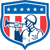 Soldat Blowing Bugle Crest Sterne Retro