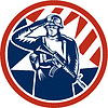 American Soldier Salute Halten Rifle Retro