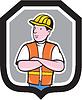 Bauarbeiter Arme verschränkt Schild Cartoon