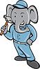 Векторный клипарт: Слон Builder Холдинг молот мультяшный