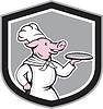 Schwein-Chef-Koch-Holding Dish Cartoon