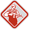 Soldier Serviceman Military Assault Rifle Shield