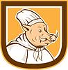 野猪厨师厨师卡通盾 | 光栅插图