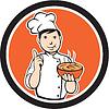厨师厨师携带碗圆形卡通 | 光栅插图
