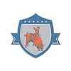 ID 4340065 | Metallic Rodeo Cowboy Bull Riding Retro Shield | Stockowa ilustracja wysokiej rozdzielczości | KLIPARTO
