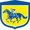 Jockey Pferderennen Seitenansicht Schild Retro