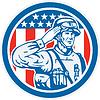 Soldat Militär Serviceman Salute Kreis Retro