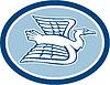 Heron Crane Fliegen Seitenansicht Oval Retro