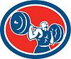Gewichtheber Langhantelheben Kreis Retro