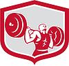 Gewichtheber Langhantelheben Schild Retro