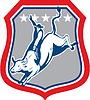 美国牛仔竞技骑牛卡通 | 光栅插图