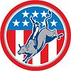 美国牛仔竞技骑牛圈子卡通 | 光栅插图