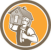 Builder mit Haus Carpenter Hammer Retro