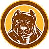 Pitbull Hund Mischling Kopf Kreis Holzschnitt