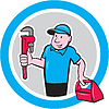 Klempner mit Monkey Wrench Toolbox Cartoon