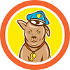 Polizeihund Hunde Kreis Cartoon