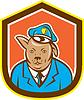 Polizeihund Hunde Schild Cartoon