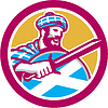 Highlander Scotsman Schwert Schild Retro Kreis