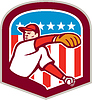 Amerikanischen Baseball-Pitcher werfen Ball-Schild Cartoon