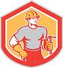 Builder Zimmermann hält Hammer-Schild Retro
