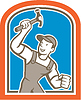 Builder Zimmermann hält Hammer-Schild Cartoon