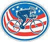 Radfahrer fahren Mountainbike amerikanische Flaggen-Oval