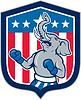 Republikanischer Elefant Maskottchen Boxer Schild Cartoon