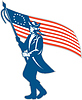 American Patriot Soldat Winken USA Flaggen-Kreis
