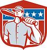 Amerikanischen Baseball Batter Bat-Schild Retro