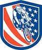 Векторный клипарт: Велосипедов Райдер Флаг США Щит Ретро