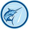 Векторный клипарт: Blue Marlin Fish Jumping Круг Мультяшный