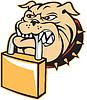 Bulldog Mischling Hundekopf Retro Vorhängeschloss