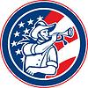 Векторный клипарт: Американский кавалерийский Солдат дуя стекляруса круг
