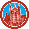 Векторный клипарт: Винчестер собор Woodcut Ретро