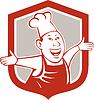 Векторный клипарт: Шеф-повар Счастливый руки, щит мультяшный
