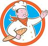 Векторный клипарт: Шеф-повар Холдинг Багет Circle мультяшный