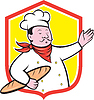 Векторный клипарт: Шеф-повар Холдинг Багет Shield мультяшный