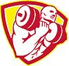 Bodybuilder Heben Hantel Schild Retro