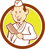 Векторный клипарт: Японский шеф-повар Мясо Кливер Круг Мультяшный