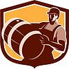 Векторный клипарт: Бармен Проведение Beer Barrel Shield Retro