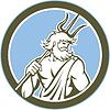 Neptun Poseidon Trident Kreis Retro