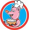Schwein-Chef Cook-Holding-Schüssel Kreis Cartoon