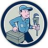 Векторный клипарт: Водопроводчик Toolbox гаечный ключ Круг Мультяшный