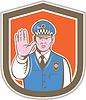 Векторный клипарт: ГАИ Рука Стоп Войдите Shield мультяшный