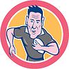 Векторный клипарт: Регби игрок работает Зарядка Circle мультяшный