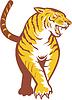 Векторный клипарт: Тигр Крадущийся Ретро