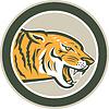 Векторный клипарт: Атакующий Тигр Руководитель Рычание Side Круг Ретро